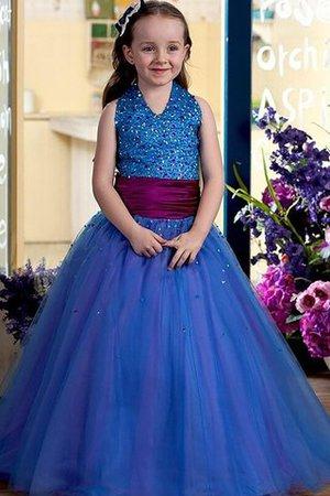 Tüll Duchesse-Linie Normale Taille Bodenlanges Blumenmädchenkleid mit Blume 12cjh5R
