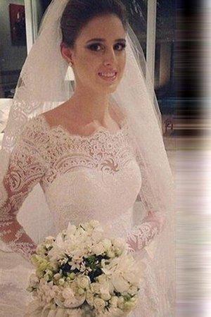 Tüll Schaufel-Ausschnitt Langärmeliges Normale Taille Meerjungfrau Brautkleid O14BmiihO