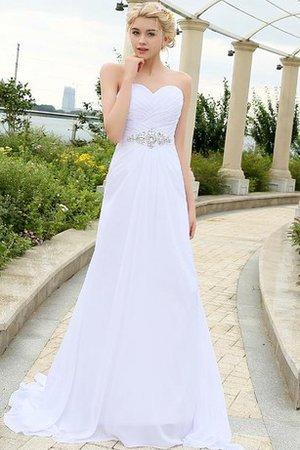 Outdoor Elegantes Sittsames Brautkleid mit Perlengürtel mit Kristall - Bild 1