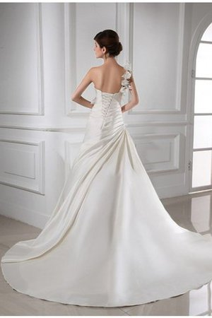 Empire Taille Ein Schulter A-Linie Brautkleid mit Blume mit Rücken Schnürung VT2G1GjA