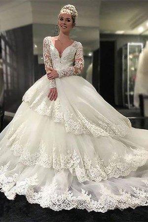 Normale Taille Tüll V-Ausschnitt Langärmeliges Brautkleid mit Bordüre 0NoMKJCb