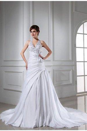 Empire Taille A-Line Prinzessin Ärmelloses Brautkleid mit Applikation iK9Zu