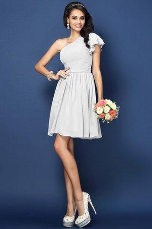 Prinzessin Chiffon Ein Schulterfreies Drapiertes Mini Brautjungfernkleid 4pNebx