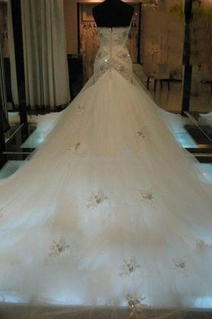Ärmelloses Meerjungfrau Normale Taille Brautkleid mit Herz-Ausschnitt aus Tüll IE3sU8ngt