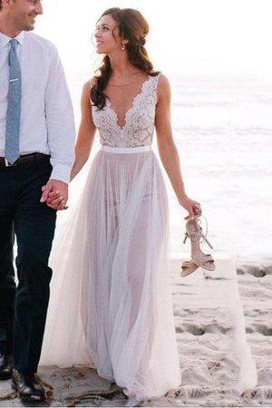 A-Line Ärmellos Bodenlanges Brautkleid mit Schaufel Ausschnitt aus Tüll - Bild 1