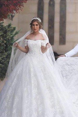 Normale Taille Duchesse-Linie Gericht Schleppe Kurze Ärmeln Brautkleid mit Bordüre 5O3CdfouNY