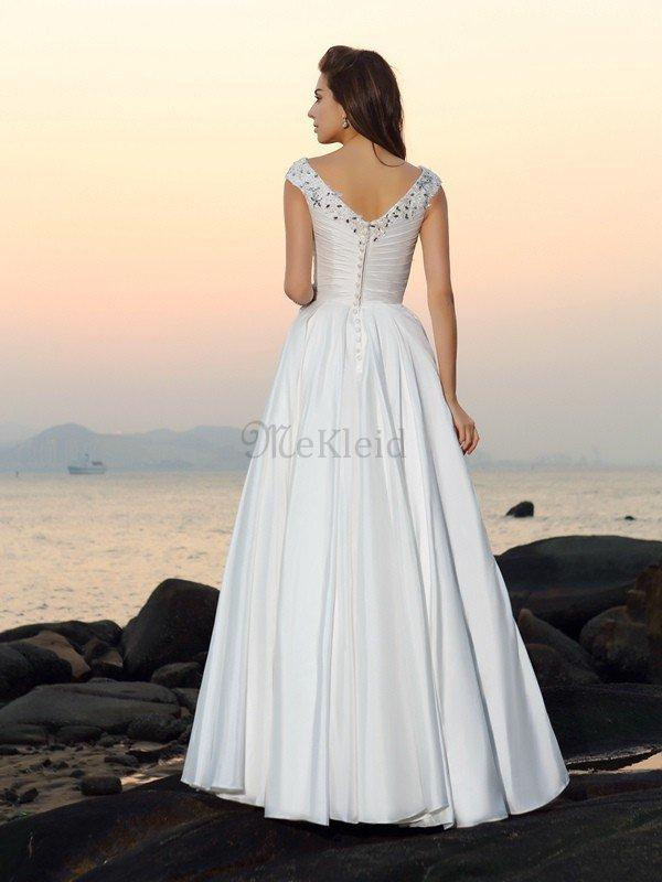 Beach Stil A-Linie Empire Taille Bodenlanges Brautkleid mit Applike ...