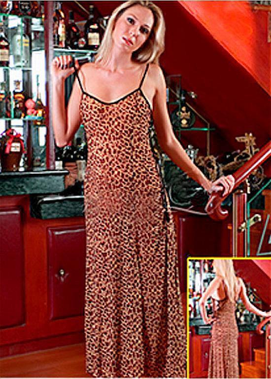 Charmant Lange Leopard Jersey Kleid Negligees Mekleidde