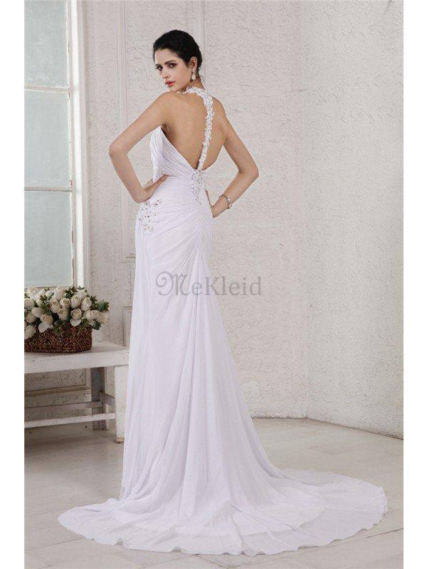 Rückenfreies Perlenbesetztes Empire Taille Brautkleid aus Chiffon ...