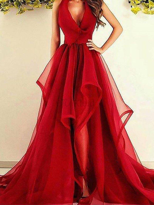 11e6bfb152e30e A Linie Ärmelloses V-Ausschnitt Prinzessin Abendkleid aus Organza ...