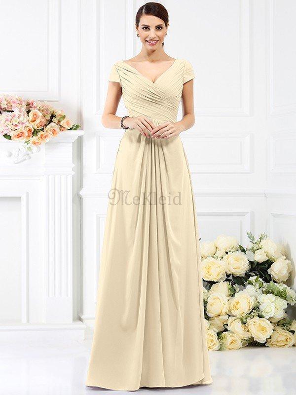 Drapiertes Prinzessin Plissiertes Bodenlanges Brautjungfernkleid mit ...