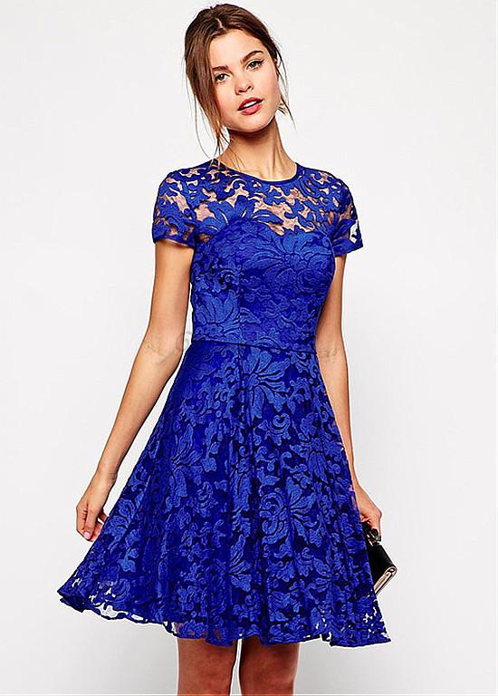 Blau Fee Skater Kleid Spitze Königlich Charmant Glamourös