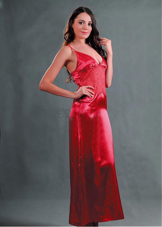 Lange Rot Kleid V-Ausschnitt Satin Elegant Babydoll ...
